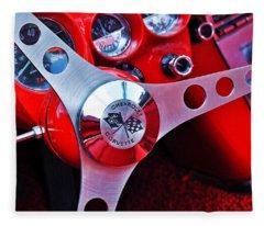 Chevy Corvettte Steering Wheel Fleece Blanket