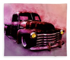 Chevy Rat Rod Pickup Pop Stand Fleece Blanket