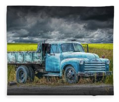 Chevy Truck Stranded By The Side Of The Road Fleece Blanket