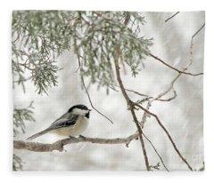 Chicadee In A Snow Storm  Fleece Blanket