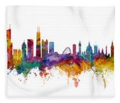 Chicago And London Skylines Mashup Fleece Blanket