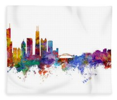 Chicago And Milwaukee Skyline Mashup Fleece Blanket