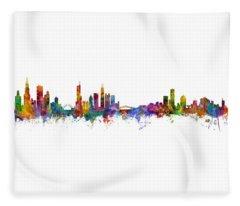 Chicago And Milwaukee Skyline Mashup Fleece Blanket