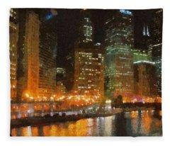 Chicago At Night Fleece Blanket