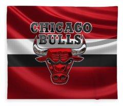 Chicago Bulls - 3 D Badge Over Flag Fleece Blanket