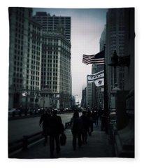Chicago City Fog Fleece Blanket