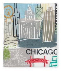 Chicago Cityscape- Art By Linda Woods Fleece Blanket