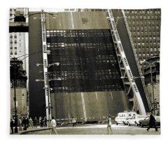 Old Chicago Draw Bridge - Vintage Photo Art Print Fleece Blanket