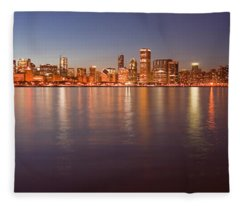 Chicago Dusk Skyline Panoramic  Fleece Blanket