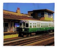 Chicago El Vintage  Cars At Armitage  Fleece Blanket