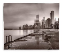 Chicago Foggy Lakefront Bw Fleece Blanket