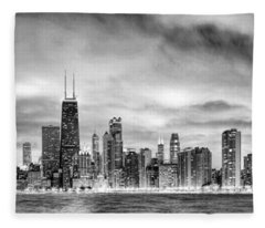 Chicago Gotham City Skyline Black And White Panorama Fleece Blanket