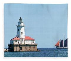Chicago Harbor Lighthouse And A Tall Ship Fleece Blanket
