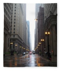 Chicago In The Rain 2 Fleece Blanket