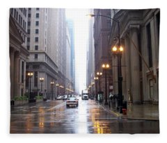 Chicago In The Rain Fleece Blanket