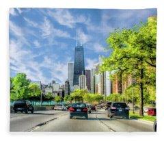 Chicago Lake Shore Drive Fleece Blanket