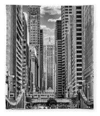 Chicago Lasalle Street Black And White Fleece Blanket