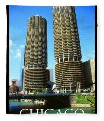 Chicago Poster - Marina City Fleece Blanket