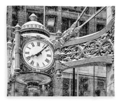 Chicago Marshall Field State Street Clock Black And White Fleece Blanket