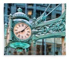 Chicago Marshall Field State Street Clock Fleece Blanket