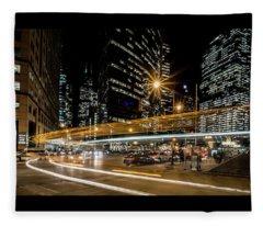 Chicago Nighttime Time Exposure Fleece Blanket