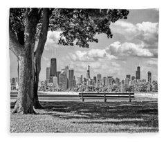 Chicago North Skyline Park Black And White Fleece Blanket