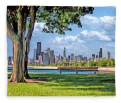 Chicago North Skyline Park Fleece Blanket
