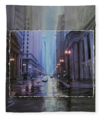 Chicago Rainy Street Expanded Fleece Blanket