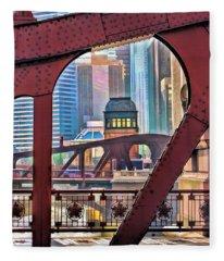 Chicago River Bridge Framed Fleece Blanket