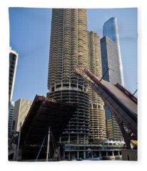 Chicago River Bridge Lift At Marina Towers Fleece Blanket