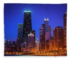 Chicago Shoreline Skyscrapers Fleece Blanket