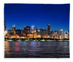 Chicago Shorline At Night Fleece Blanket