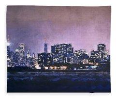 Chicago Skyline From Evanston Fleece Blanket