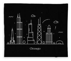Chicago Skyline Travel Poster Fleece Blanket