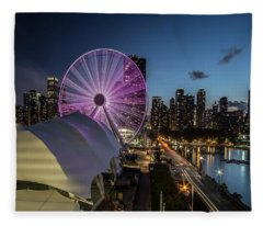 Chicago Skyline With New Ferris Wheel At Dusk Fleece Blanket