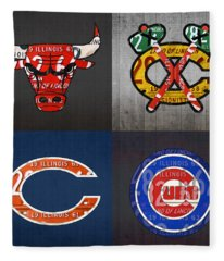 Chicago Sports Fan Recycled Vintage Illinois License Plate Art Bulls Blackhawks Bears And Cubs Fleece Blanket