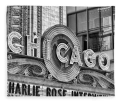 Chicago Theatre Marquee Black And White Fleece Blanket