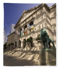 Chicago's Art Institute In Reflected Light. Fleece Blanket