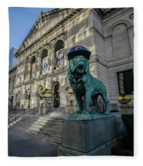 Chicago's Art Institute With Cubs Hat Fleece Blanket