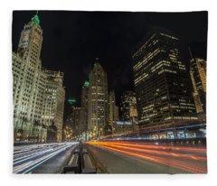 Chicago's Mag Mile Night Streaks Fleece Blanket