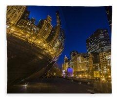 Chicago's Millenium Park At Dusk Fleece Blanket