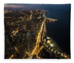 Chicago's North Side From Above At Night  Fleece Blanket