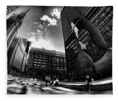 Chicago's Picasso With A Fisheye View Fleece Blanket