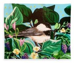 Chickadee Berry Fleece Blanket
