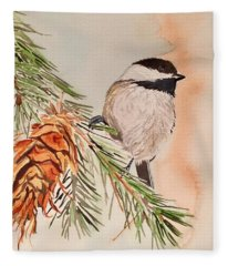 Chickadee In The Pine Fleece Blanket