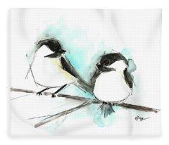 Chickadees II Fleece Blanket