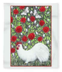 Chicken And Butterflies In The Flowers Fleece Blanket