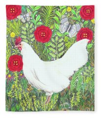 Chicken With Millefleurs And Butterflies  Fleece Blanket