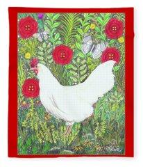 Chicken With Millefleurs And Butterflies  Fleece Blanket