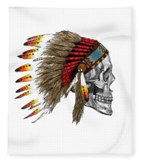 Chief Headdress On Human Skull Native American Art Fleece Blanket